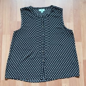 Cece printed black tank top blouse